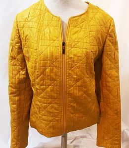 Kasper Mustard Yellow Sz L Zip Front Jacket